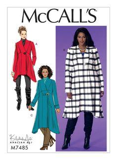 McCall's plus-size sewing pattern by Khaliah Ali. M7485 Women's Seamed, Shaped-Hem Coats. 18W-32W