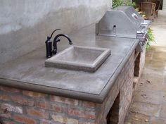 Concrete countertop for the outdoor kitchen.
