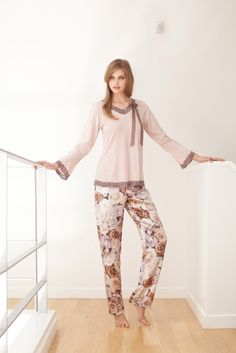 Sneak Peak from the new AW2013 collection: Cotton/viscose Pyjama top with fine lace trim and ribbon bow with printed satin pants.