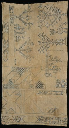 Linen sampler embroidered with silk in double running stitch, by unknown maker, Egypt, century. Museum no. Blackwork Embroidery, Embroidery Sampler, Diy Embroidery, Embroidery Stitches, Embroidery Designs, Embroidery Patterns Free, Cross Stitch Patterns, Medieval Embroidery, Hand Embroidery Tutorial