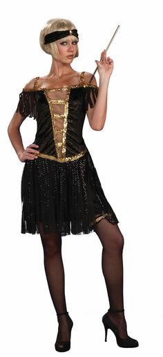 55014a65e2 Adult Golden Glamour Flapper Dress - Candy Apple Costumes - Sexy Women s  Costumes Gatsby Costume