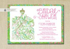 Lilly Pulitzer Inspired Chomp Chomp Bridal Shower Invitation Gown Preppy Shabby Chic Pink Green Blue Printable Digital or Printed- Kim Style. Pink Green Wedding, Pink And Green, Invitation Paper, Invitation Design, Southern Bridal Showers, Brunch Wedding, Summer Wedding, Wedding Shower Invitations, Shabby Chic Pink