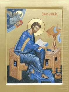 Painted Icon of Holy Apostle and Evangelist Luke Byzantine Icons, Byzantine Art, Religious Icons, Religious Art, Luke The Evangelist, Church Icon, Roman Church, Paint Icon, Feuille D'or