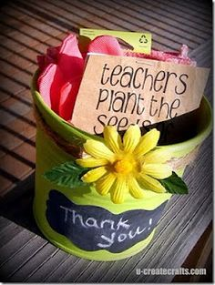teachers plant the seeds of knowledge that will grow forever, chalkboard label on pail, seed packets & garden gloves