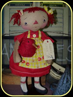 Primitive raggedy Ann Doll  ONE OF A KIND $60  SOLD @ Backdoor Primitives Auctions