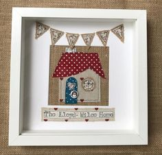 This beautiful, rustic handmade appliqued picture frame is the perfect gift for someone who has just moved into a new home. The house and design bunting design can be made to specific colours if required. If not specified I shall send out a pre made home. Box Frame Art, Box Frames, New Home Cards, New Home Gifts, Handmade Picture Frames, Bunting Design, Free Motion Embroidery, Embroidery Ideas, Machine Embroidery