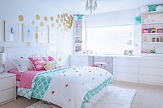 Tween girl bedroom makeover in turquoise and white. Budget-friendly with lots of… Tween girl bedroom makeover in turquoise and white. Budget-friendly with lots of storage with built-ins around window Pin: 2400 x 1588 Blue Girls Rooms, Room Decor For Teen Girls, Teen Girl Rooms, Teenage Girl Bedrooms, Little Girl Rooms, Bedroom Ideas For Tweens, Girls Room Desk, Unique Teen Bedrooms, Cool Girl Rooms