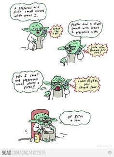 Yoda ordering a pizza