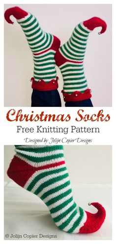 Christmas Elf Socks Free Knitting Pattern - - Whether you plan on dressing up as an elf to help Santa or Mrs. Claus greet children, act in a Christmas play, or just have fun, this Christmas Elf Socks Free Knitting Pattern is just for you. Knitting Socks, Free Knitting, Baby Knitting, Vintage Knitting, Elf Slippers, Knitted Slippers, Drops Design, Knitting Machine Patterns, Free Christmas Knitting Patterns