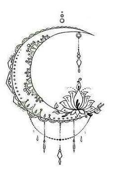 Tatto Ideas 2017 Bohemian Moon Tattoo Design von The Devil ist im Detail Design www.f Art & Inspiration & Tattoos Mandala Tattoo Design, Dotwork Tattoo Mandala, Moon Tattoo Designs, Lotus Tattoo, Trendy Tattoos, Tattoos For Women, Cool Tattoos, Tatoos, Inspiration Tattoos