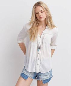 American Eagle Pintucked Button Down Shirt, Women's, Ivory