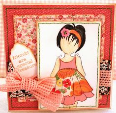card with prima doll stamp