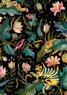 Illustration Art Nouveau, Illustration Blume, Pattern Illustration, Jungle Illustration, Illustration Flower, Whats Wallpaper, Art Watercolor, Motif Floral, Floral Patterns