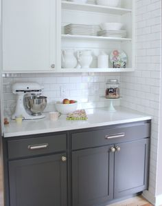 White Kitchen Herringbone Backsplash flourish design & style - kitchens - white kitchen, herringbone