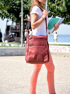 Leather tote bag - Convertible backpack - Distressed leather bag - Laptop bag