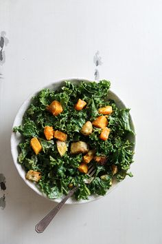 Kale and Butternut Squash Salad with Indian-Spiced Croutons   www.floatingkitchen.net