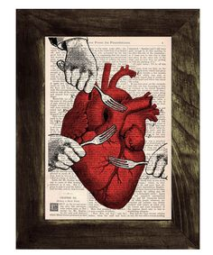 WANT!  -  Heart Print on Vintage Book  Sweet Heart   Book  page by PRRINT, $6.99