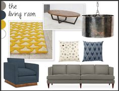 Modern living room - yellow and navy blue