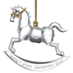 babys first christmas rocking horse 2016crystal christmas ornament by lenox
