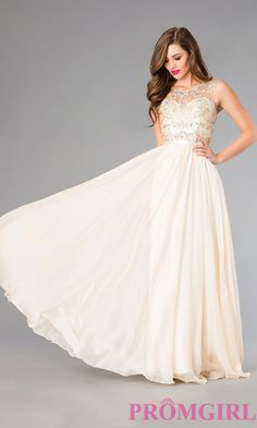 Floor Length Sleeveless Dress with Jewel Detailing, champagne prom dress, $219