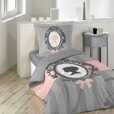 Šedé povlečení pro dívky Boudoir, Toddler Bed, Furniture, Place, Home Decor, Gray, Bedding, Linens, Baroque Mirror