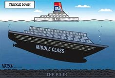 The rich the middle-class and the poor - sinking ship Trickle Down Economics, Mood, Political Cartoons, Political Images, The Middle, We The People, Thinking Of You, About Me Blog, America