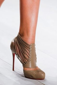 Christian Louboutin, heeled booties, leather booties, strappy leather booties, beige heels, runway heels, shoe fetish, amazing shoes, shoes i love, wish list shoes