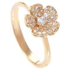 Pre-owned 18K Rose Gold Flower Promise Ring