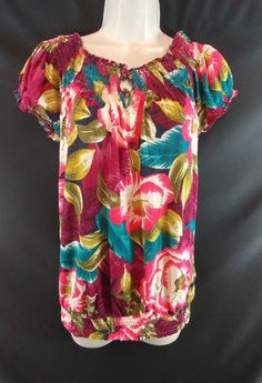 "~Multi-color floral peasant top with elastic neck, sleeves, and waist. 60% Cotton 40% Modal. ~Ladies Size M - 36"" around the bust. From the top of the shoulder, to the very bottom of the hem, the length is 27"" long. 