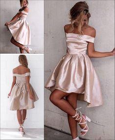 Glossy A-line Light Champagne Homecoming Dresses Off-the-Shoulder Hi-Lo Graduation Dresses Light Pink Homecoming Dresses, Hoco Dresses, Dresses For Teens, Bridesmaid Dresses, Dresses For Work, Formal Dresses, Sexy Dresses, Summer Dresses, Wedding Dresses