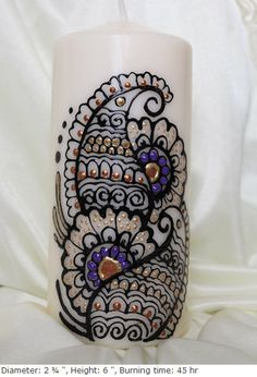 Personalized Handpainted henna candles with by ArtbyMeena on Etsy, $15.00