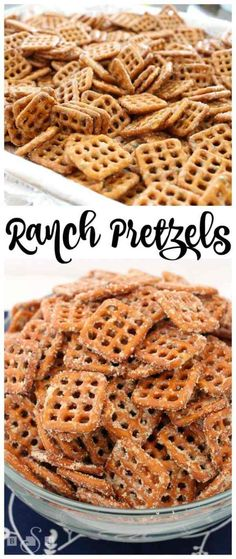 Ranch Pretzels - Butter With A Side of Bread (Savory Snack Mix) Pretzel Snacks, Salty Snacks, Yummy Snacks, Yummy Food, Ranch Pretzels, Seasoned Pretzels, Dipped Pretzels, Snack Mix Recipes, Cooking Recipes