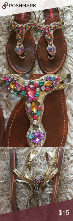 Unionbay Colorful Rhinestones & Snakeskin Sandals Omg so stunning in person!! ❤️ colorful rhinestone diamond like body to these sandals that makes any regular outfit Pop and a gold snakeskin print texture straps that are adjustable. Been lightly used and still amazing!! Urban Outfitters Shoes Sandals