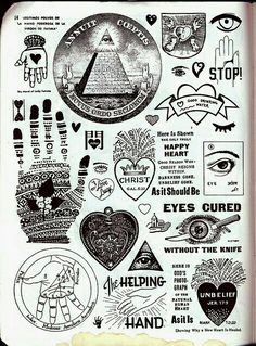 """A collection of the Illuminati symbols. Notice many heart symbols are incorporated with other occult symbols, such as """"One Eye"""" """"Mad of Miriam (Kabbala amulet, Hamsa)"""" and more. The heart symbol is an occult symbol. Tarot, Ephemeral Tattoo, Symbole Tattoo, Kreis Tattoo, Mystique, Wow Art, Astrology, Witches, Tattoo Ideas"""