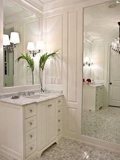 Bathroom/powder room inspiration with huge full length mirror. I love the millwork/trim.
