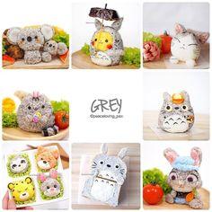 Which is the most kawaii shade of grey? -- #bentoart #kyaraben #foodart #disney #zootopia #ghibli #pokemon #koala #totoro #pusheen #pikachu #cat #grey #anime #manga #otaku Posted with permission from @peaceloving_pax