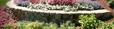 Landscaping with retaining walls.