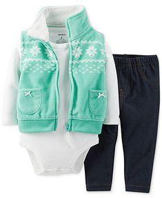 {Carter's Baby Girls' 3-Piece Vest, Bodysuit & Pants Set}