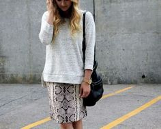 comfy sweater & printed pencil skirt