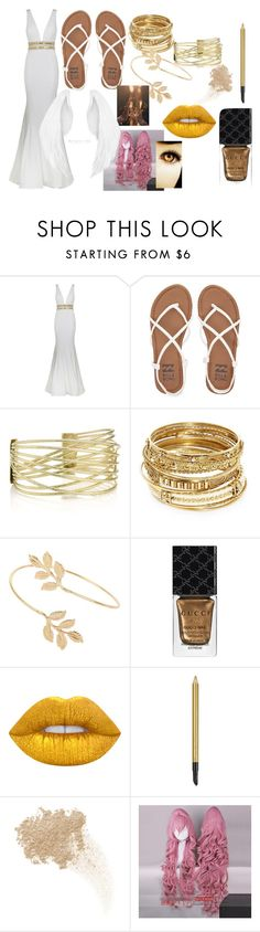 """""""Every day (Tia)"""" by eyeless-angel-of-death ❤ liked on Polyvore featuring Jovani, Billabong, ABS by Allen Schwartz, Miss Selfridge, Gucci, Lime Crime, Estée Lauder, W3LL People and Coshome"""
