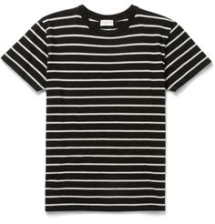 Bold stripes are a recurrent theme throughout Saint Laurent's collections, and this T-shirt is an easy way to capture the look. It's cut in a modern slim fit from supremely soft cotton-jersey and dyed a simple black and grey combination. Wear yours to break-up block colours.