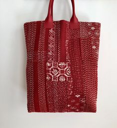 Red boro inspired bag made using fabrics from BeBe Bold