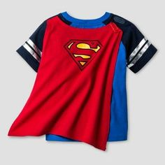 Toddler Boys' Superman Short Sleeve Cape T-Shirt - Blue/Red 3T