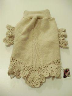Designer Dog Sweater Small Crocheted Wool Dog by MyFabulousPuppy Crochet Dog Sweater, Crochet Pattern, Small Dog Sweaters, Dog Jacket, Puppy Clothes, Dog Wear, Dog Pattern, Pet Costumes, Pets