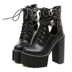 See this and similar WithChic ankle booties - Black Lace Up Buckle Strap Heeled Platform Ankle Boots Color:Black (only Black is available now)Boot Style:AnkleSt. Lace Up Heel Boots, Black Lace Up Boots, Black Platform Boots, Black Heel Boots, Black Ankle Booties, High Heel Boots, Heeled Boots, Shoe Boots, Black Heels