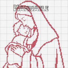 Schema punto croce Madonnina E Bambin Gesu
