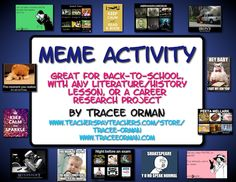 Engaging Meme Activity for Any Class - use during your novel unit