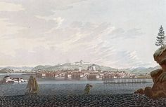 "City of Drontheim (JW Edy plate 72). English: ""City of Drontheim"" Norsk bokmål: «Staden Tronhjem»   Drawing by John William Edy (1760-1820) from his journey along the coast of Norway during the summer of 1800. Published in Boydell's picturesque scenery of Norway in 1820."