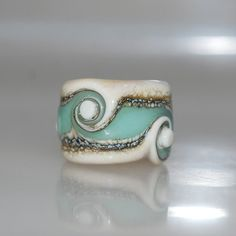 Dreadlock Glass Bead Seafoam Beach Swirl with 12mm hole by genschi, $15.50