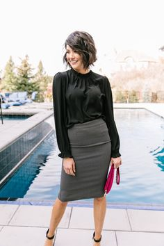 Pencil Skirt Casual, Pencil Skirt Work, High Waisted Pencil Skirt, Pencil Skirts, Black Pencil Skirt Outfit, Pencil Skirt Dress, Business Casual Outfits For Women, Edgy Work Outfits, Young Work Outfit